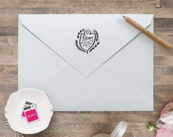 Return Address Stamp / Self Inking  Wedding Invitation Stamp, Save the Date Stamp, Monogram Wreath Crest Stamp, Crest Wedding Stamp