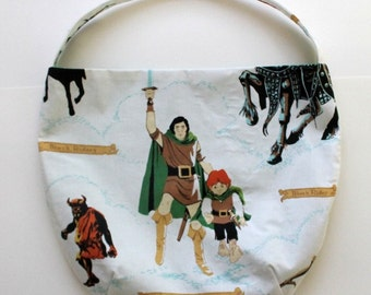 Lord of the Rings Purse or Bag - Hobbit Purse - All That is Gold - Shoulder Bag Style - Upcycled from vintage fabric