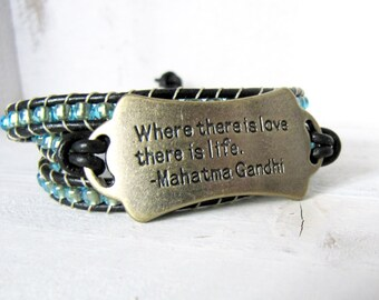 """Teal Blue Leather Wrap Bracelet, Mahatma Gandhi """"Where there is love there is life"""" Quote Bracelet, Triple Wrap, Lime Green Blue Black Wrap"""
