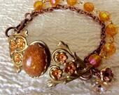 Floral Filigree Bracelet  Amber Stone Bracelet Czech Flower Bracelet Flower Bracelet