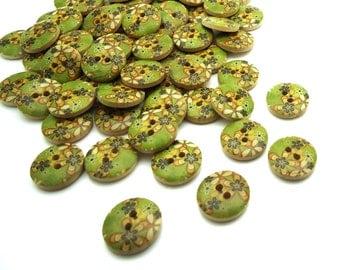 10 x Green Flower Patterned Buttons - Wooden Buttons - 15mm