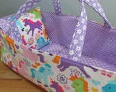 Doll Carrier, Bitty Baby Size, Unicorns with Lavender Lining