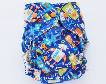 Robots, one size PUL cloth diaper cover, OS, robot on dark blue, gears, tools, ready to ship