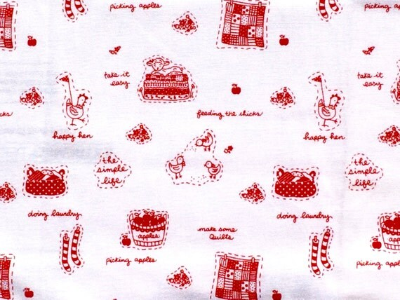 Holiday Sale : The Simple Life Tasha Noel Riley Blake fabric red white text FQ or two