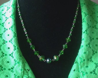 Emerald Swarovski Crystal Beaded Linked Necklace & Earring Set - Mid Century  Modern - Vintage Inspired