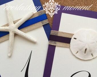 White Starfish Table Number Beach Wedding, Sand Dollar, Destination Wedding, Florida, Beach, Sandy, Table Name