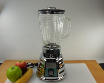 Sears Kenmore 500 3 Speed Blender - Mid Century Oster Beehive Chrome - Glass Pitcher
