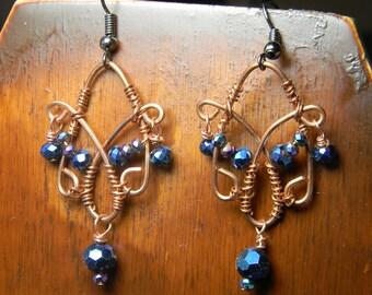 Blue butterfly Art Nouveau inspired Earrings