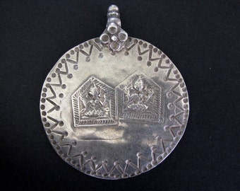 Antique Indian Amulet, Ethnic Tribal, Duo Lord Shiva Amulet, Pendant, Rajasthan, India,High Grade Silver, 12.2 Grams