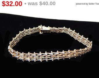 Sterling Silver Bracelet - Linky Classic Silver Cut Design - Mexican Silver Signed 925 - 1960's 1970s Mid Century Vintage Jewelry