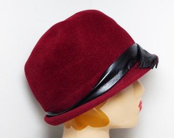 Wine Red Cloche Hat - Wool Felted Style with Leather Hat Band - Signed Betmar - Vintage Mod 1960's - early 1970's - Bucket Style