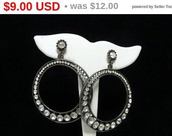 Large Rhinestone Hoops - Retro 1980's - 1990's Dangling Earrings for Pierced Ears - Statement Jewelry