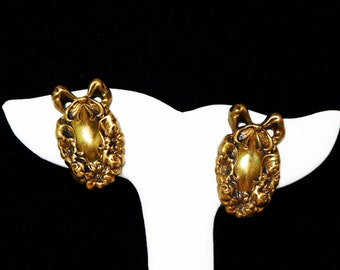 Victorian Clip on Earrings with a Wreath & Ribbon Bow Design - Pressed Metal - Hollow Ware Early 1900's Jewelry