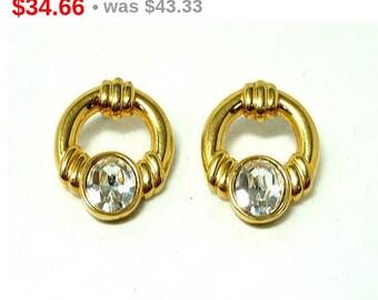 Swarovski Oval Earrings for Pierced Ears - Door Knocker Style Signed S.A.L. for Swarovski