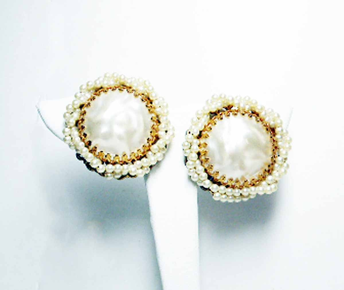 Button Earrings: Large Pearl Earrings Button Style Pearlescent White Earrings