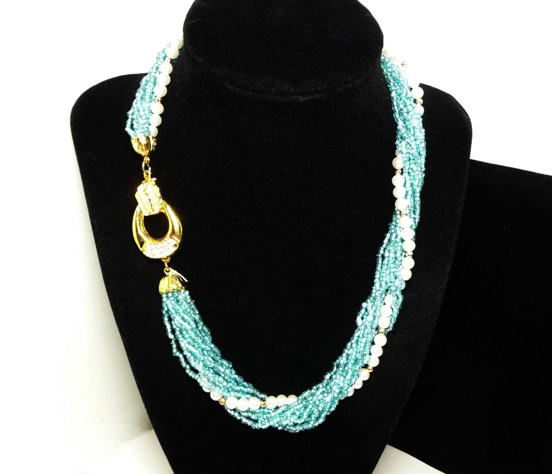 Torsade Necklace: Blue & Pearl Bead Torsade Necklace Multi Strand Vintage