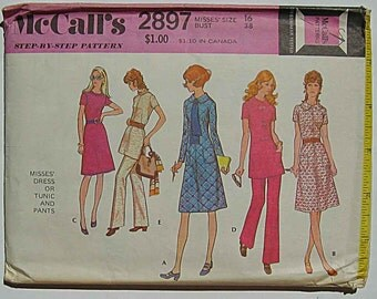 Retro 70's Misses' Dress or Tunic Top and Pants, Pantsuit McCall's 2897 Sewing Pattern UC Size 16