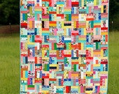Rail Fence Scrappy Throw Quilt