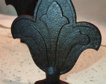 Set / 4 Cast Iron Gate or FENCE POST Fleur de Lis DECORATIONS From New Orleans