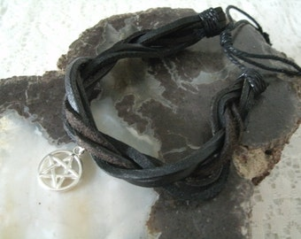 Leather Pentagram Bracelet, wiccan jewelry pagan jewelry wicca jewelry mens jewelry witch witchcraft magic gothic bracelet pentacle bracelet