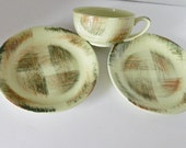 Metlox Vernon Ware Raffia California Pottery USA 2 Bread and Butter Plates 1 Cup Hand Painted