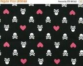 sale fabrics - 50 percent off heart and skull - Cotton print fabric - 1 yard - ctnp303