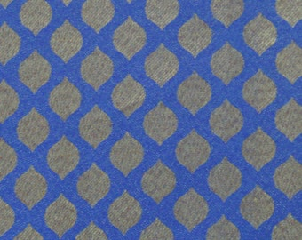 blue and gold brocade fabric - 1 yard - br086