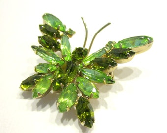 Vintage Green Rhinestone Butterfly Brooch Vintage Flying Bug Pin Bright Green Dark Green Brooch Gift for Mom Gift for Her
