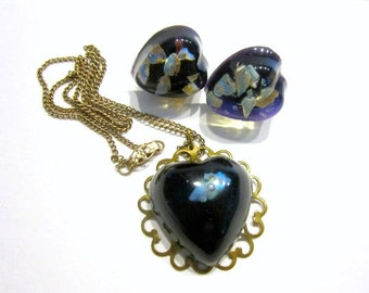 Vintage Floating Opal Necklace Set Lucite Jewelry Set Laminated Opal Clip Heart Earrings Floating Opals Necklace Gift for Her Gift for Mom