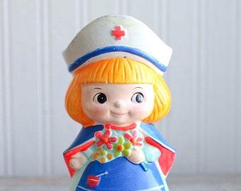 Vintage Big Eye Nurse Bank, 1960s Mod Girls Bank, Kitsch Figurine for Nurses, Nursing Student Gift, Little Girls Bedroom, Nurse Week