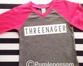 Threenager Birthday Shirt Hipster Style unisex birthday Raglan threenager Shirt Boy or Girl  Birthday Shirt third birthday hipster shirt