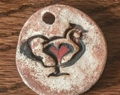 Chicken and Pawspiral Oxide rubbed pendant - oil diffuser