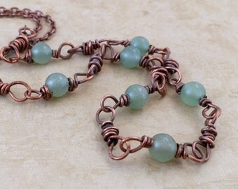 Green Gemstone Copper Necklace, Light Green Aventurine, Oxidized Copper Beads, Rustic Necklace