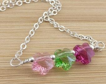 Pink Green Raspberry Sterling Silver Bar Necklace. Spring Flower Necklace. Swarovski Crystal Pendant. Modern. Minimalist.