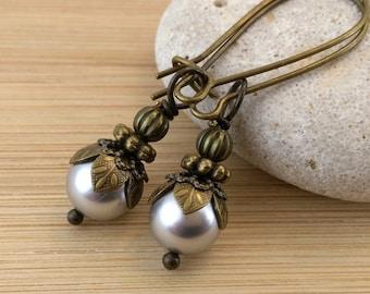 Silver Grey Pearl Earrings Antique Brass Vintage Victorian Style Swarovski Pearls Wedding Jewelry