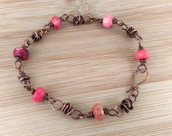 Red Agate Wire Wrapped Copper Bracelet. Oxidized Copper. Antiqued Copper Stone Bracelet. Red Gemstone Bracelet. Artisan Copper Beads.