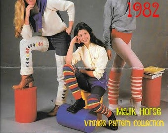 Vintage Knitting Pattern 1980s Knitted Leg Warmers Legwarmers Knitting Pattern 9 Styles Instant Download PDF