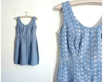 Vintage 60's Blue Cotton Pencil Mini Dress Embroidered MIDINETTE / Size XS S