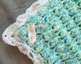 Blue and green baby blanket
