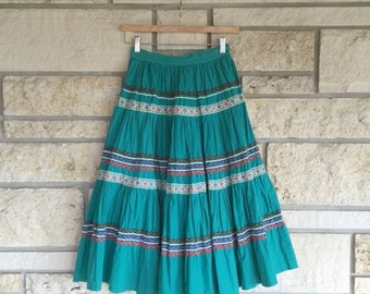 Vintage 50s Tourqouise Cotton Patio Squaw Circle Skirt • Cotton Circle Skirt • Patio Skirt • Squaw Skirt