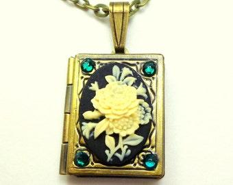 Lovely Ivory Flower Cameo, Onyx Black, Book Locket Necklace,Emerald Green, Swarovski Crystals,Neo Victorian,Edwardian Fantasy, OOAK
