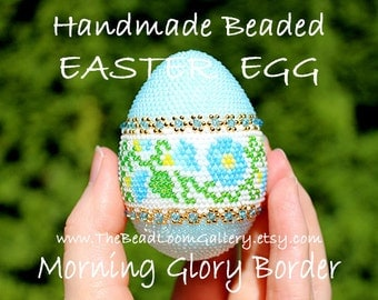 Handmade Beaded Easter Egg with Swarovski Crystals and 24K Gold Plated Seed Beads - Morning Glory Border