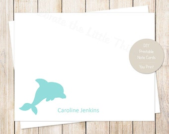 PRINTABLE dolphin note cards, notecards . personalized . flat stationery stationary . under the sea . You Print