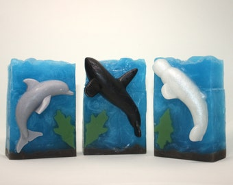 LIMITED EDITION - Ocean Scene Soap - Dolphin soap, whale soap, killer whale soap, beluga whale soap, art soap, gift soap, seaside, marine