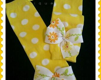 Yellow polka dots, baby leg warmers, leg warmers with bows, birthday girl outfit, baby leggings, tutu socks