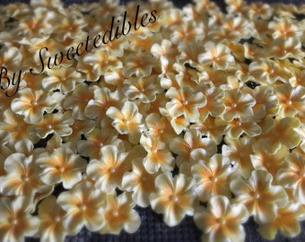 Ready to Go Now Edible Sugar Light Yellow Gum Paste Blossoms 25 piece