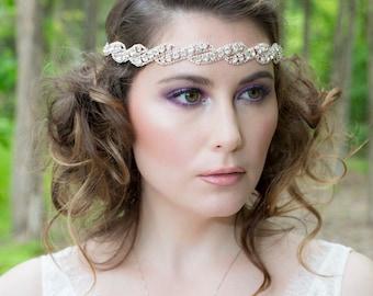 Bridal Headband - Rose Gold Wedding Halo - Crystals and Silk