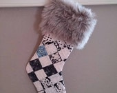 Christmas stocking from vintage quilt with faux fur cuff