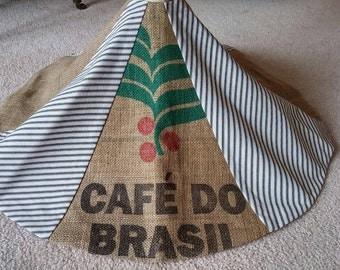 Christmas tree skirt from coffee burlap sack