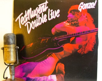 """ON SALE Ted Nugent Vinyl Record Album 2Lp Vintage 1970s Live Michigan Gonzo Classic Rock """"Double Live Gonzo!"""" (1978 Cbs w/""""Great White Bufal"""